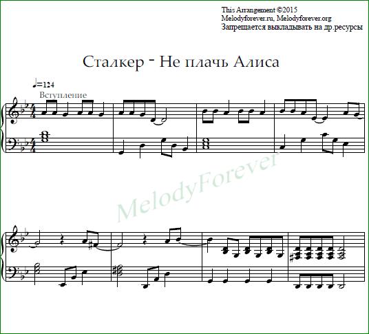 ноты для фортепиано Сталкер - Не плачь Алиса